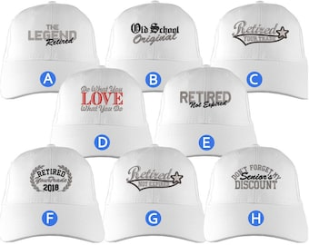 Custom Retirement Embroidery Design on a White Structured Classic Adjustable Baseball Cap Selection of 8 Designs Some Personalized + Options