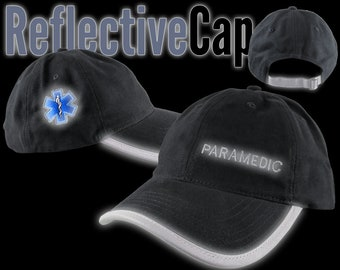Paramedic EMT EMS Star of Life Reflective Embroidery + Trim Adjustable Black Unstructured Adjustable Ball Cap + Personalization Option