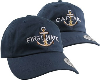 2 Hats Nautical Golden Star Anchor Captain + First Mate Embroidery Adjustable Navy Unstructured Yupoong Baseball Caps +Personalized Options