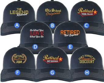 Custom Retirement Embroidery Design Navy Blue on Silver Full Fit Classic Adjustable Trucker Cap 8 Designs to Choose From Some Personalized