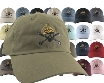 Custom Golden Crown Skull Crossbones Embroidery on Your Selection of 21 Adjustable Unstructured Baseball Caps Dad Hat Style + Options