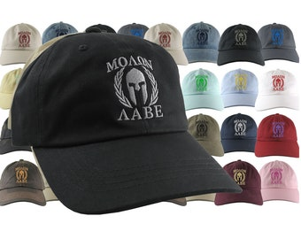 Custom Molon Labe Spartan Warrior Mask Your Color Choice Embroidery on Your Selection of Adjustable Unstructured Baseball Cap Dad Hat Style