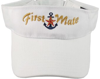 First Mate Embroidery Nautical Star Anchor on an Adjustable Sporty Stylish White Visor Summer Boating Hat Cruising World Travel