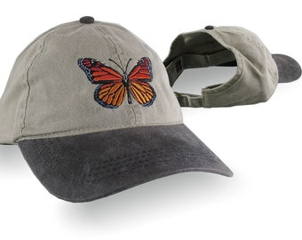 Monarch Butterfly Embroidery Design on an Adjustable Unstructured Ponytail Hairdo Women Open Fashion Low Profile Baseball Cap