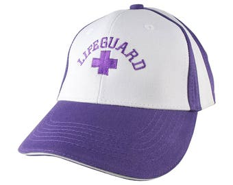 Beach Swimming Pool Lifeguard Purple Embroidery on Adjustable Purple and White Structured Baseball Cap with Option to Personalize the Back