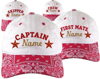 Custom Personalized Captain First Mate Skipper Crew Embroidery on a Red Bandanna Adjustable Unstructured Baseball Cap Dad Hat + Option