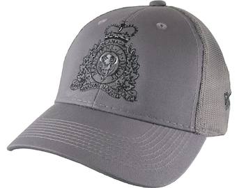 Canadian RCMP GRC Veteran Mounted Police Crest Motto Embroidery Adjustable Charcoal Structured Trucker Cap 3 Locations Embroidery