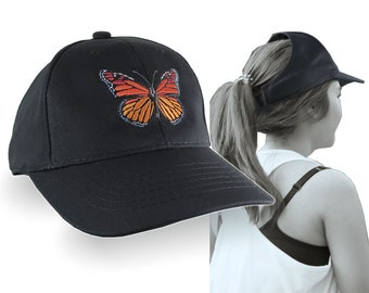 Monarch Butterfly Embroidery Design on an Adjustable Structured Black Ponytail Hairdo Women Open Fashion Baseball Cap