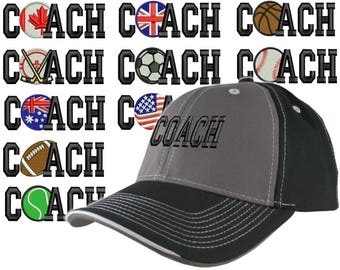 Custom Personalized Coach Embroidery on Adjustable Structured Charcoal Black Baseball Cap Front Decor Selection + Options for Side and Back