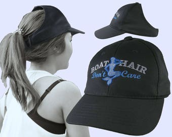 Boat Hair Don't Care Nautical Blue Mermaid Embroidery on an Adjustable Black Structured Ponytail Hairdo Women Open Fashion Baseball Cap