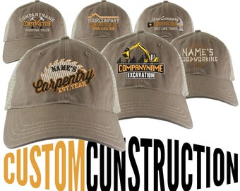 Personalized Custom Construction Renovation Contractor Carpenter Builder Embroidery on an Adjustable Taupe and Beige Unstructured Mesh Cap