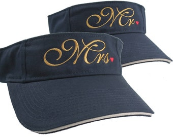 Mr. and Mrs. Embroidery Newlyweds Couple on a pair of Navy Blue Visors Duo Adjustable Elegant Fashion Sun Hats