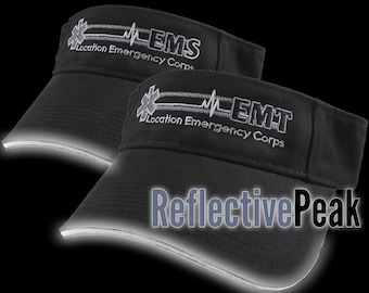 Paramedic Star of Life Caduceus EMT or EMS Personalized Embroidery Adjustable 3M Scotchlite Reflective Peak Black Brushed Cotton Visor Cap