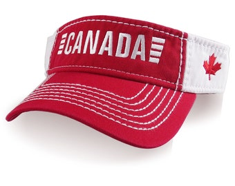 Canada Canadian Maple Leaf Embroidery on an Adjustable Red and White Cotton Twill Visor Sun Hat