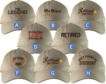Custom Retirement Embroidery Design Khaki Beige Unstructured Classic Adjustable Baseball Cap Selection 8 Designs Some Personalized + Options