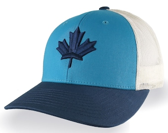 Canadian Blue Maple Leaf 3D Puff Embroidery Canada Flag on an Adjustable Blue and Beige Structured Trucker Style Snapback Mesh Ball Cap