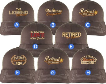Custom Retirement Embroidery Design on a Brown on Tan Full Fit Classic Adjustable Trucker Cap 8 Designs to Choose From Some Personalized