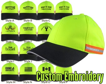 Custom Personalized Black Embroidery on an Adjustable Safety Yellow Reflective Full Fit Baseball Cap Choice of 16 Front Decors Hunt Fish +++