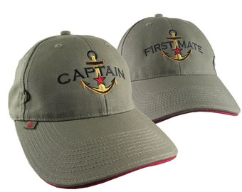 Captain First Mate Couple Star Anchor Embroidery Adjustable Khaki Green Structured Fashion Baseball Caps + Options to Personalize Side Back