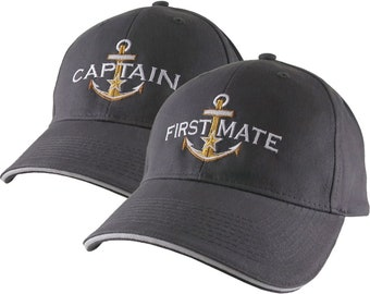 Personalized Captain and First Mate Star Anchor Embroidery Duo Adjustable Charcoal Structured Baseball Caps Options to Personalize Side Back
