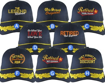 Custom Retirement Embroidery on Structured Classic Adjustable Trucker Mesh Cap with Laurels Selection 8 Designs Some Personalized + Options