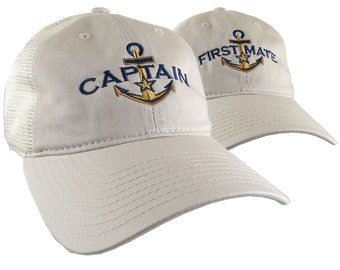 Nautical Star Golden Anchor Captain and First Mate Embroidery 2 Adjustable Beige Unstructured Trucker Style Mesh Caps