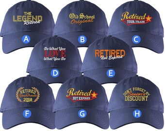 Custom Retirement Embroidery Design Indigo Blue Unstructured Classic Adjustable Baseball Cap Selection 8 Designs Some Personalized + Options