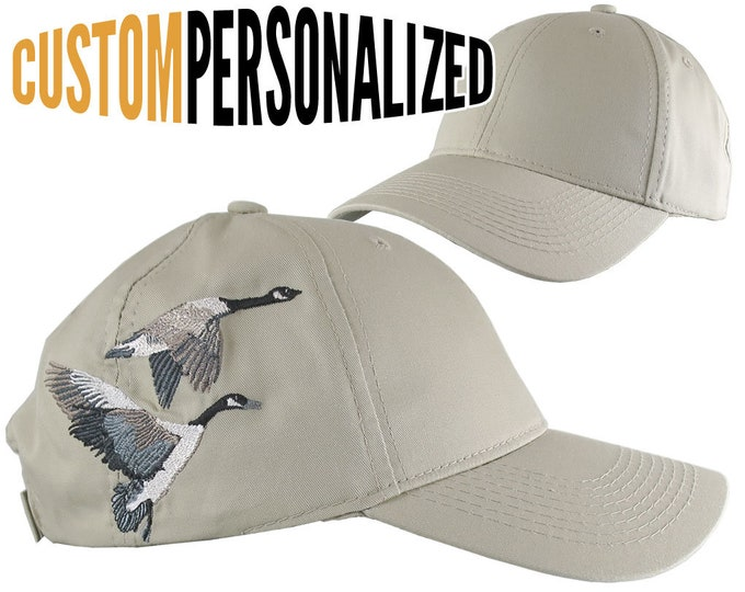 Featured listing image: Custom Personalized Canadian Geese Large Embroidery Adjustable Full Fit Beige Baseball Cap Front Decor Selection Options for Side and Back