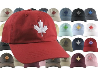 a6c2e7e92086c Custom Canadian Maple Leaf Your Color Choice Embroidery on Your Selection  of an Adjustable Unstructured Baseball Cap Dad Hat Style Canada