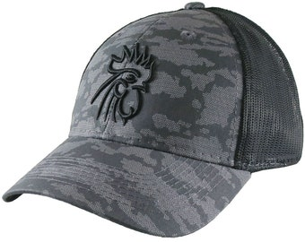 Rooster Head Black 3D Puff Raised Embroidery on an Adjustable Grey Urban Camo and Black Structured Truckers Style Snapback Ball Cap