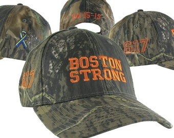 Boston Strong 617 Ribbon Remembrance 4 Locations Safety Orange Embroidery on Adjustable Green Woodsman Camo Structured Classic Baseball Cap