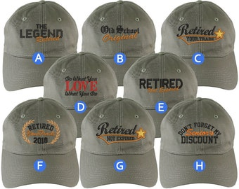 Custom Retirement Embroidery Design Khaki Green Unstructured Classic Adjustable Baseball Cap Selection 8 Designs Some Personalized + Options