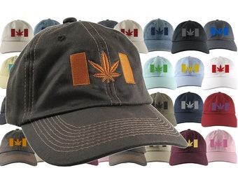 Canadian Cannabis Flag Your Color Choice Embroidery Your Selection of an Adjustable Unstructured Baseball Cap Dad Hat Style Canada + Option