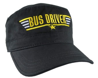 Bus Driver Top Gun Style Yellow School Bus Embroidery Adjustable Unstructured Black Military Cadet Style Fashion Cap +Options to Personalize
