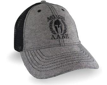 Molon Labe Spartan Gladiator Warrior Laurels Black Embroidery on Adjustable Reversed Black Denim Soft Structured Trucker Style Mesh Ball Cap