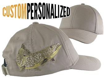 Custom Personalized Large Pike Fishing Embroidery on Adjustable Full Fit Taupe Baseball Cap Front Decor Selection Options for Side and Back