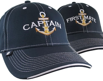 2 Hats Nautical Golden Star Anchor Captain + First Mate Embroidery Adjustable Navy Blue Structured Baseball Caps + Options to Personalize