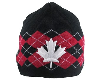 Canadian White Maple Leaf 3D Puff Embroidery on a  Red and Black Argyle Pattern Jacquard Knit Beanie
