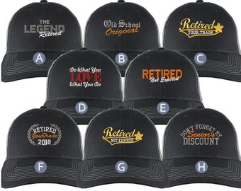 Custom Retirement Embroidery Design on a Black on Silver Full Fit Classic Adjustable Trucker Cap 8 Designs to Choose From Some Personalized