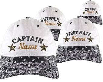 Custom Personalized Captain First Mate Skipper Crew Embroidery on a Black Bandanna Adjustable Unstructured Baseball Cap Dad Hat + Option