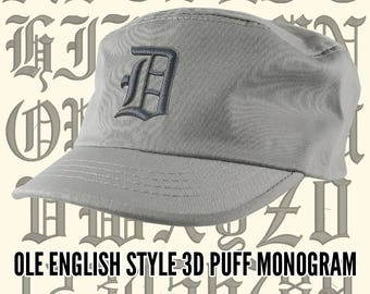 Your Custom Personalized 3D Puff Ole English Monogram Embroidery on an Adjustable Grey Unstructured Fashion Army Military Cadet Cap