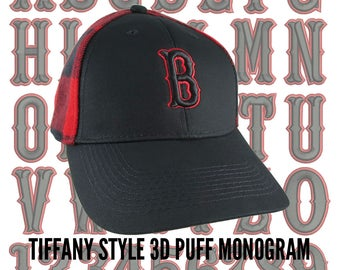 Your Custom Personalized Black and Red 3D Puff Monogram Embroidery on an Adjustable Stylish Baseball Cap in Black and Buffalo Check Plaid