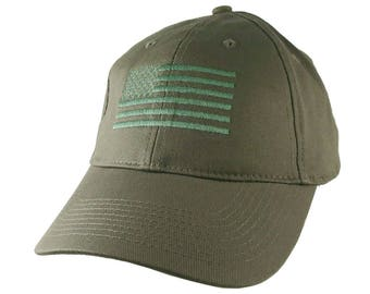 An American US Flag Green Embroidery on an Adjustable Structured Adjustable Khaki Baseball Cap with Options to Personalize the Side and Back