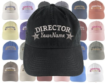 Custom Personalized Director Stars Embroidery Selection of 16 Colors Adjustable Unstructured Baseball Cap Dad Hat +Option Back Embroidered