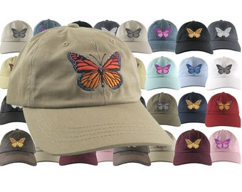 Custom Large Colorful Monarch Butterfly Embroidery on an Adjustable Unstructured Dad Hat Style Fashion Baseball Cap 21 Hat Colors Selection