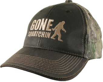 Gone Squatchin Humorous Sasquatch Bigfoot Silhouette Embroidery on a an Adjustable Brown on Realtree Style Camouflage Style Baseball Cap