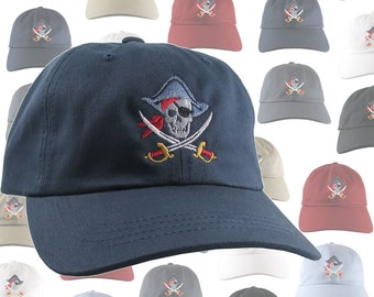 Custom Skull Crossbones Pirate Captain Embroidery on a Selection of 9 Colors Adjustable Unstructured Baseball Caps Dad Hat Style