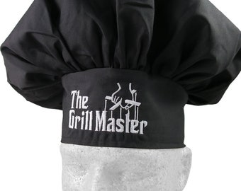 The Grill Master Parody Embroidery on an Adjustable Restaurant Wear Black Chef Hat Toque