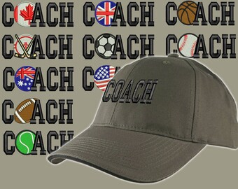Custom Personalized Coach Embroidery on an Adjustable Structured Khaki Green Baseball Cap Front Decor Selection + Options for Side and Back