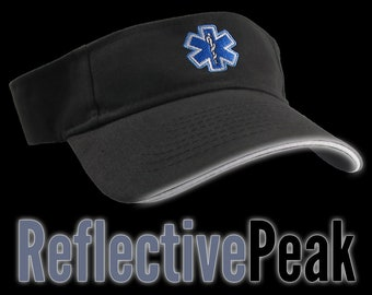 Paramedic Blue Star of Life Caduceus EMT EMS Embroidery on an Adjustable 3M Scotchlite Reflective Peak Black Brushed Cotton Visor Summer Hat